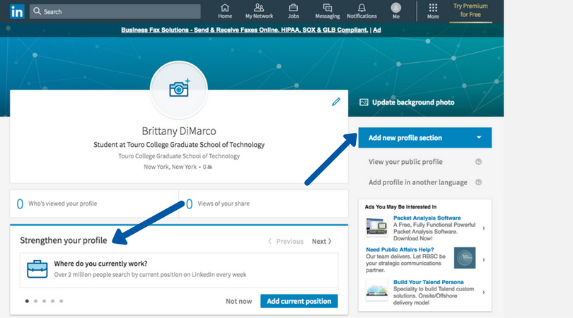 13 LinkedIn how to network how to sign up social media platform outreach touro graduate school of technology gst master degree program tech follow following.png